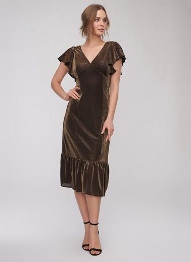 People By Fabrika Volanlı Parlak Elbise Altın